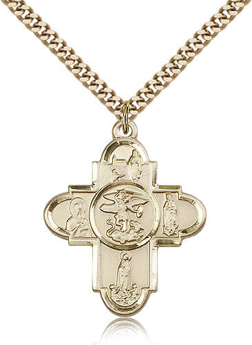 Gold Filled Five Way Our Lady Medal with Chain Pendant