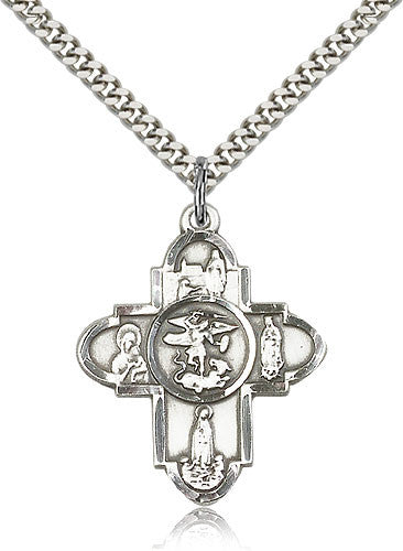 Sterling Silver Our Lady Five Way Medal with Chain Pendant