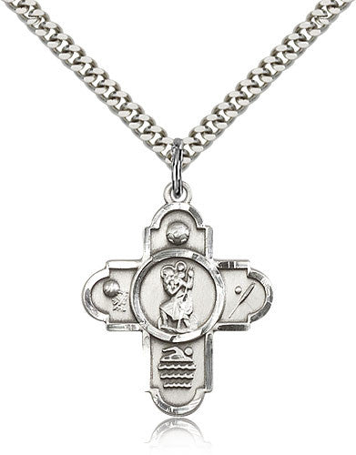 Sterling Silver St. Christopher 5-Way Sports Medal with Chain Pendant
