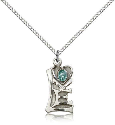 Sterling Silver Miraculous Love Medal with Chain Pendant