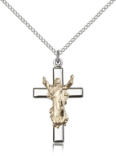 Gold Filled Risen Christ Cross Medal with Chain Pendant