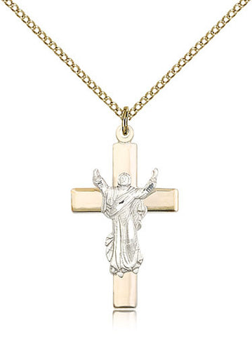 Sterling Silver Two Tone Cross Medal with Chain Pendant