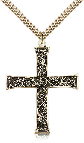 Gold Filled Cross Medal with Chain Pendant