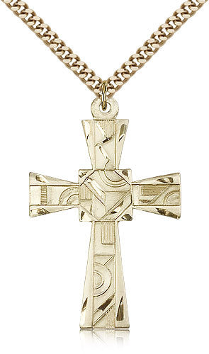 Gold Filled Mosaic Cross Medal with Chain Pendant