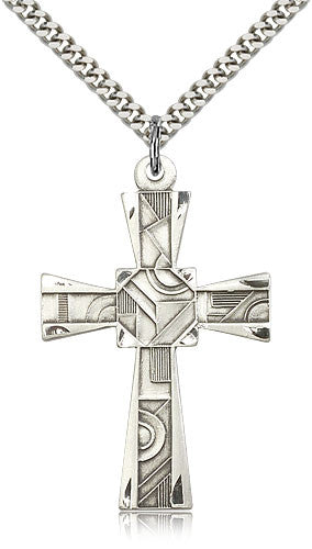 Sterling Silver Mosaic Cross Medal with Chain Pendant
