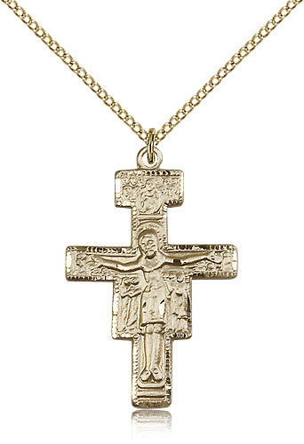 Gold Filled San Damiano Crucifix Medal with Chain Pendant