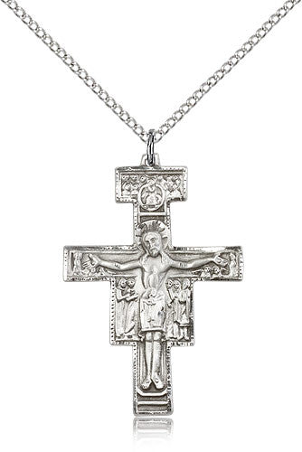 Sterling Silver San Damiano Crucifix Medal with Chain Pendant