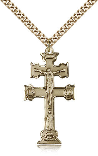 Gold Filled Caravaca Crucifix Medal with Chain Pendant