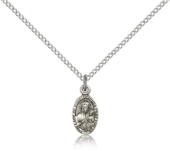 Sterling Silver Our Lady of Czestochowa Medal with Chain Pendant