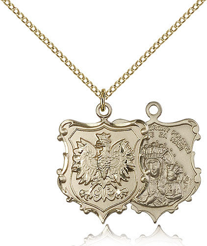 Gold Filled Our Lady of Czestochowa Medal with Chain Pendant