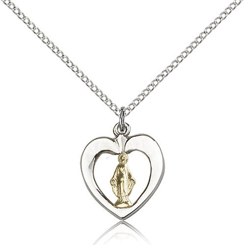 Sterling Silver Two-Tone Gold Filled Miraculous Heart Medal with Chain Pendant