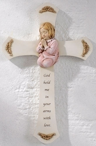 Girl Praying Wall Cross