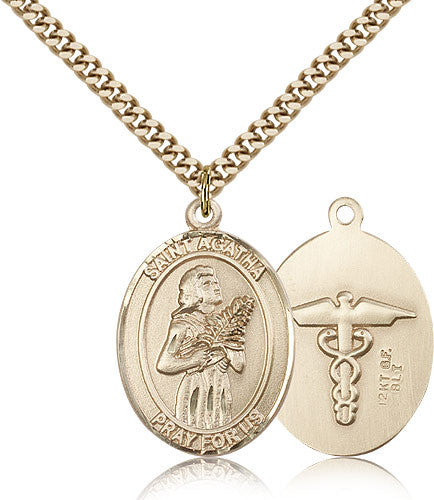 Gold Filled St. Agatha - Nurse Medal with Chain Pendant
