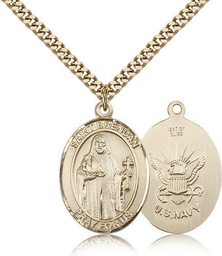 Gold Filled St. Brendan the Navigator - Navy Medal with Chain Pendant