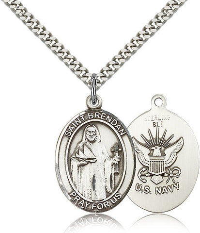 Sterling Silver St. Brendan the Navigator Navy Medal with Chain Pendant