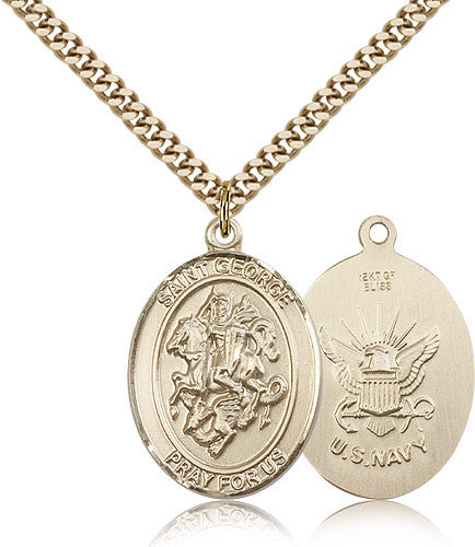 Gold Filled St. George - Navy Medal with Chain Pendant