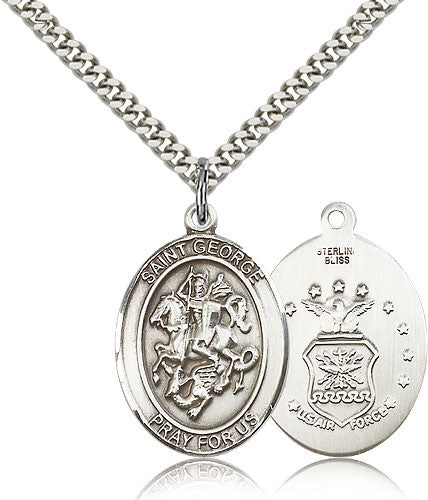 Sterling Silver St. George Air Force Medal with Chain Pendant