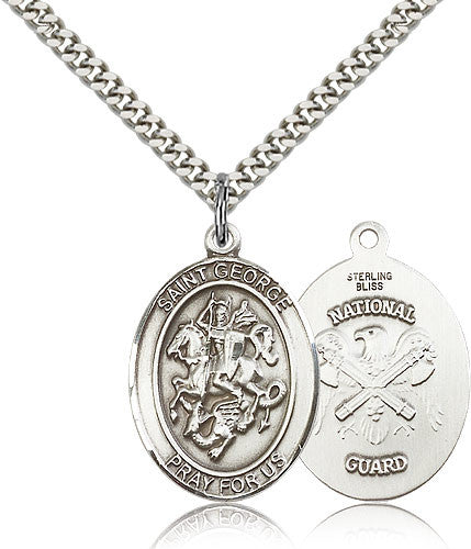 Sterling Silver St. George National Guard Medal with Chain Pendant