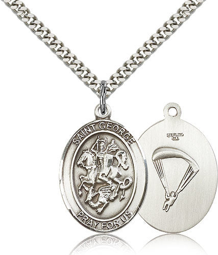 Sterling Silver St. George Paratrooper Medal with Chain Pendant