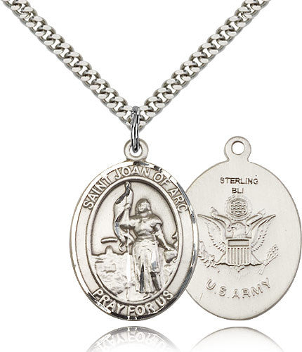 Sterling Silver St. Joan of Arc Army Medal with Chain Pendant