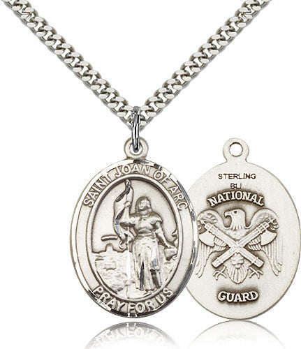 Sterling Silver St. Joan of Arc National Guard Medal with Chain Pendant