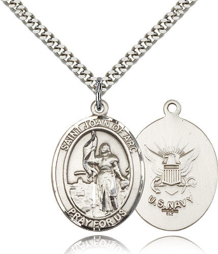 Sterling Silver St. Joan of Arc Navy Medal with Chain Pendant