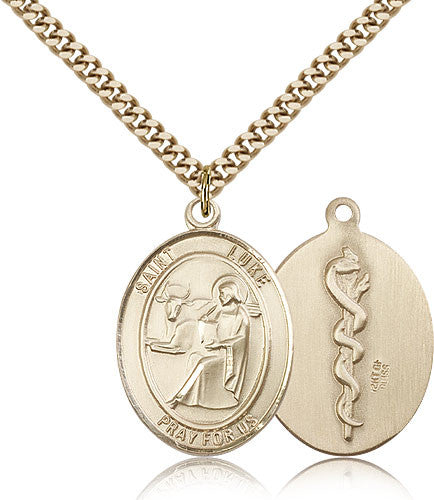 Gold Filled St. Luke the Apostle - Doctor Medal with Chain Pendant