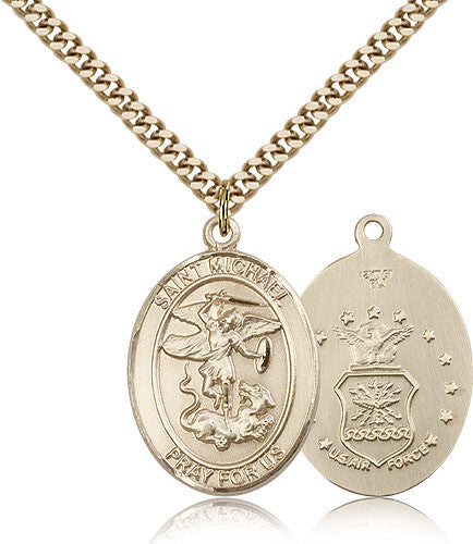 Gold Filled St. Michael - Air Force Medal with Chain Pendant