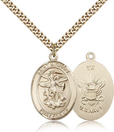 Gold Filled St. Michael - Navy Medal with Chain Pendant