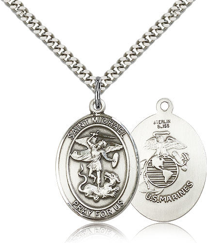 Sterling Silver St. Michael the Archangel Marines Medal with Chain Pendant