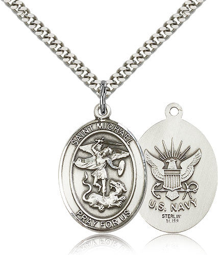 Sterling Silver St. Michael the Archangel Navy Medal with Chain Pendant