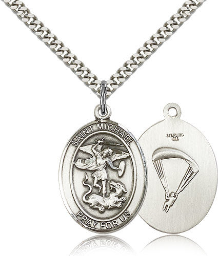 Sterling Silver St. Michael the Archangel Paratrooper Medal with Chain Pendant