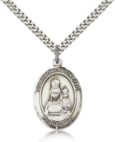 Sterling Silver Our Lady of Loretto Medal with Chain Pendant Large