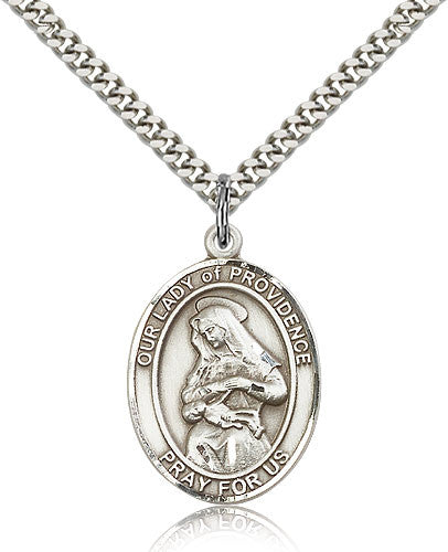 Sterling Silver Our Lady of Providence Medal with Chain Pendant Large