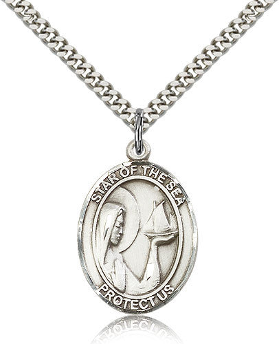 Sterling Silver Our Lady Star of the Sea Medal with Chain Pendant Large