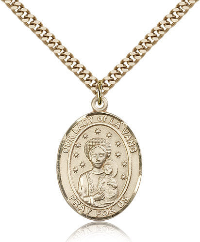 Gold Filled Our Lady of La Vang Medal with Chain Pendant