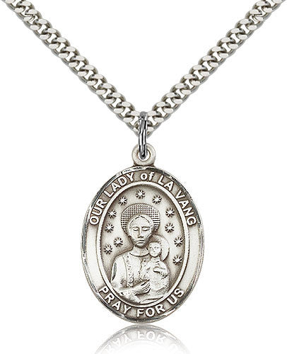 Sterling Silver Our Lady of La Vang Medal with Chain Pendant Large