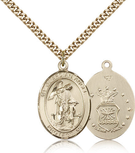Gold Filled Air Force Guardian Angel Medal with Chain Pendant