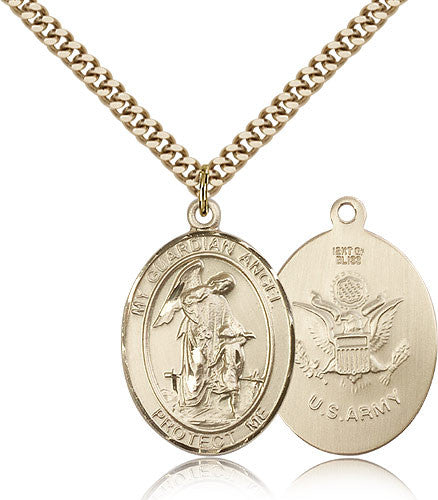 Gold Filled Army Guardian Angel Medal with Chain Pendant