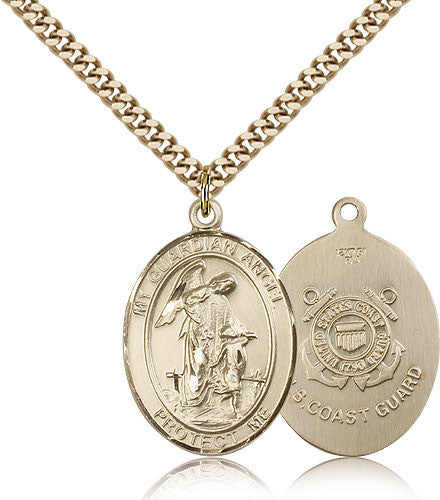Gold Filled Coast Guard Guardian Angel Medal with Chain Pendant