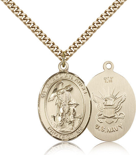 Gold Filled Navy Guardian Angel Medal with Chain Pendant