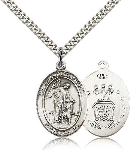 Sterling Silver Guardian Angel Air Force Medal with Chain Pendant