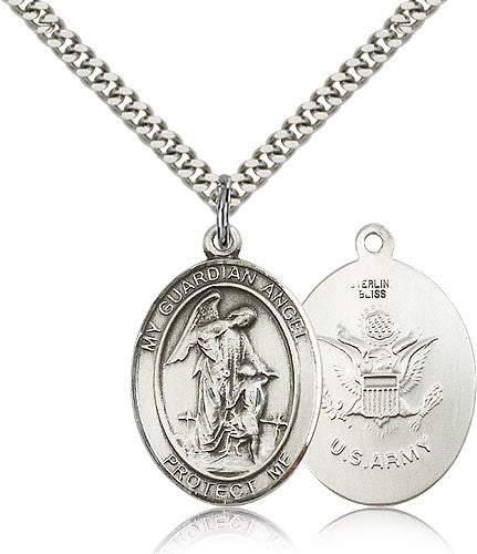 Sterling Silver Guardian Angel Army Medal with Chain Pendant