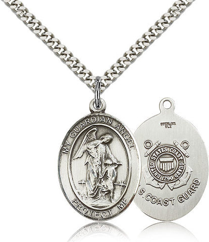 Sterling Silver Guardian Angel Coast Guard Medal with Chain Pendant
