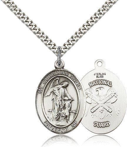 Sterling Silver Guardian Angel National Guard Medal with Chain Pendant