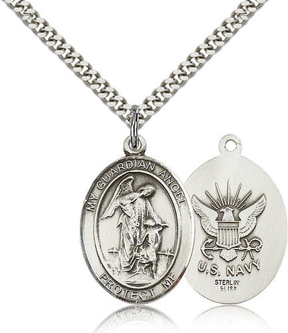 Sterling Silver Guardian Angel Navy Medal with Chain Pendant