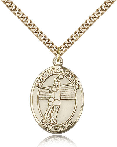 Gold Filled St. Christopher - Volleyball Medal with Chain Pendant