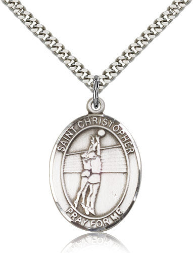 Sterling Silver St. Christopher Volleyball Medal with Chain Pendant