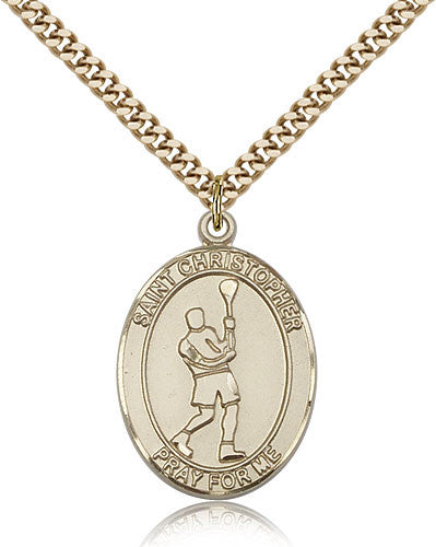 Gold Filled St. Christopher - Lacrosse Medal with Chain Pendant