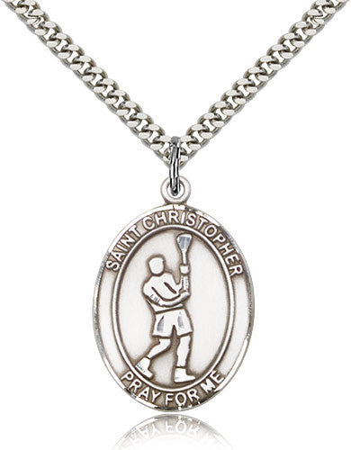 Sterling Silver St. Christopher Lacrosse Medal with Chain Pendant